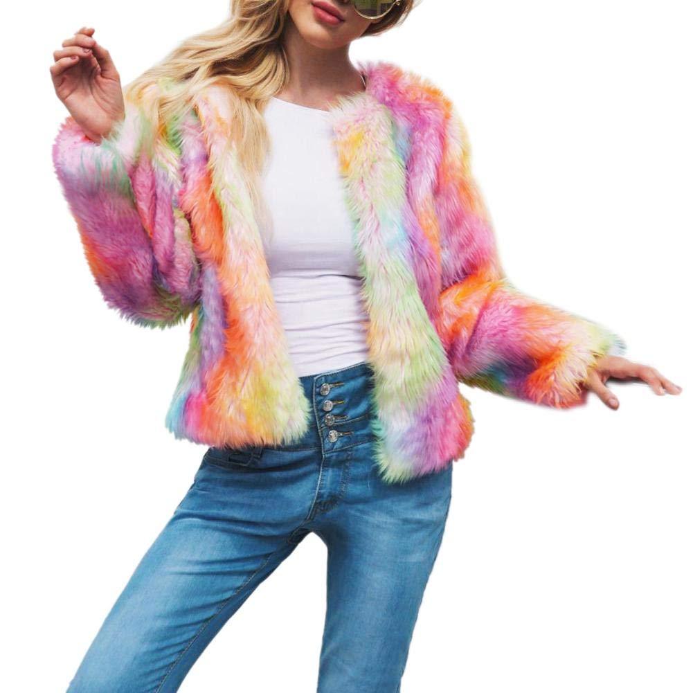 Cappotto corto shaggy in pelliccia sintetica colorata da donna Cappotto corto in pelliccia sintetica calda by lifesongs