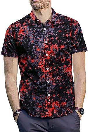 MIAOMIAOWANG Camisas de Vestir para Hombre Camisa Hawaiana, Flor Floral para Hombre, Verano, Playa de Surf, Manga Corta, Top Funky de Fiesta Camisa Casual (Color : Rojo, tamaño : L): Amazon.es: Hogar