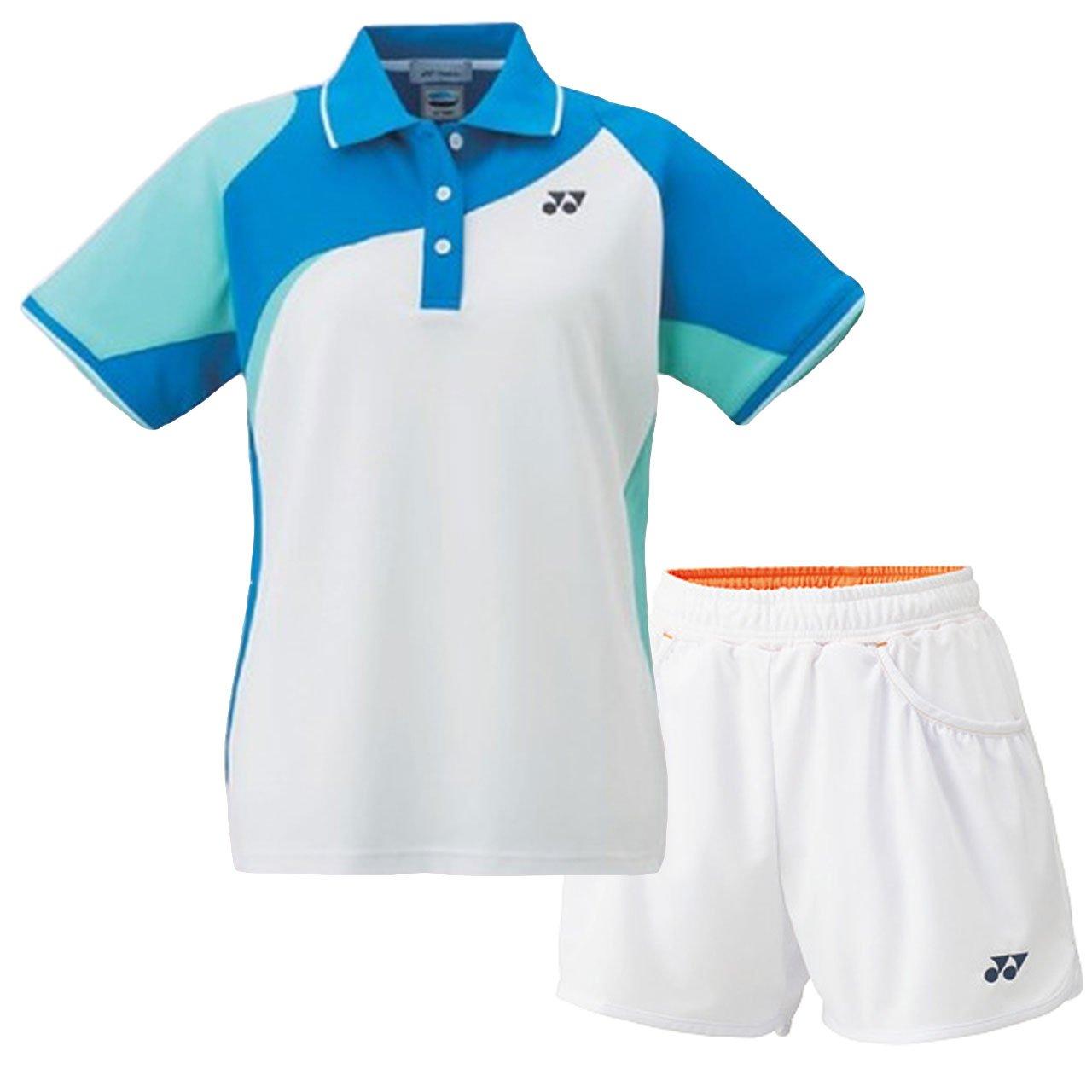 ヨネックス(YONEX) レディース ゲームシャツ&ニットショートパンツ 上下セット(ホワイトブルー/ホワイト) 20434-207-25019-011 B07BGYS11S ホワイトブルー×ホワイト S