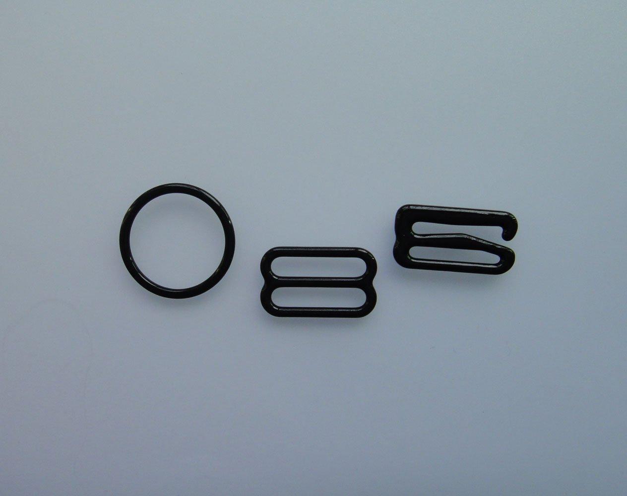 Lyracces 100pcs Nylon Coated Metal bra Lingerie Adjustment strap slides rings Rectangular Figure adjustor 8 0 Hooks Hoops clasp 9 (20mm 0.79'', Black) by LYRACCES