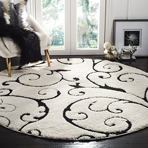 Safavieh Florida Shag Collection SG455-1290 Scrolling Vine Ivory and Black Graceful Swirl Round Area Rug (6'7