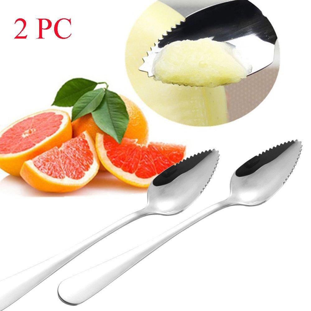 SUJING Stainless Steel Endurance Grapefruit Spoons, Dessert Spoon, Serrated Edge (2)