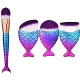 LyDia® FishTail Unicorn Purple Hair Foundation/Concealer Makeup Brush + LyDia® Unicorn Fish Style FishTail Purple Hair Round, Flat, Angled Liquid Foundation, Face Contour, Blush, Blending Makeup Brush (3pcs Fish Unicorn Brush Set)