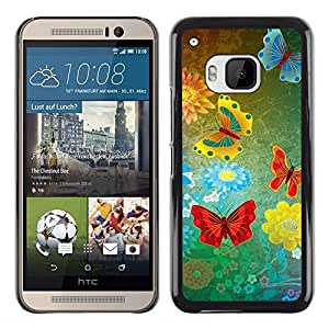 Paccase / SLIM PC / Aliminium Casa Carcasa Funda Case Cover - abstract grunge butterflies - HTC One M9