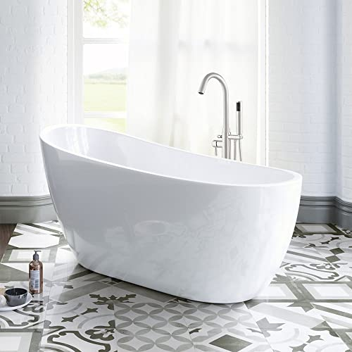 WOODBRIDGE B-0006 Modern Acrylic Freestanding, Brushed Nickel Drain Overflow, B0006 BAT-1507, 54 Bathtub I