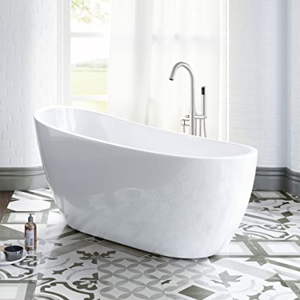 Woodbridge 54u0026quot; Modern Acrylic Freestanding Bathtub, With Brushed  Nickel Drain U0026 Overflow, ...