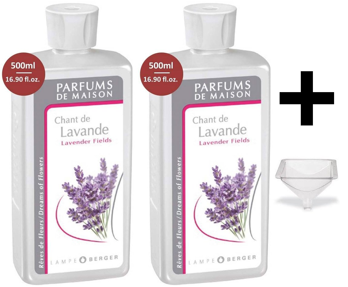 Lampe Berger Fragrance - Lavender Fields - 500ml/16.9 fl.oz. 2 Pack with FREE Funnel