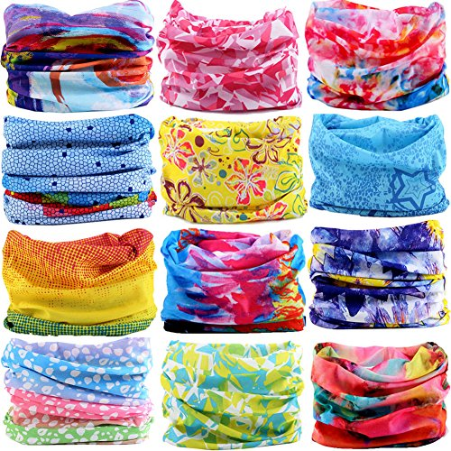 6PCS/9PCS/12PCS Multifunctional 16-in-1 Yoga Sports Fashion Travel Colors Headband Seamless Neck Uv Solid Moisture Wicking Bandana Hair Turban Scarf (12PCS0CIRCLE) (Pirate Turban)