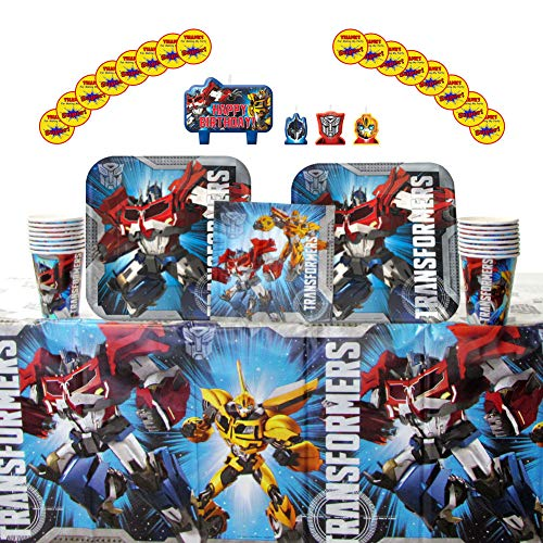 Transformers Party Supplies Pack for 16 Guests: Stickers, Candles, Dinner Plates, Luncheon Napkins, Cups, and Table Cover -