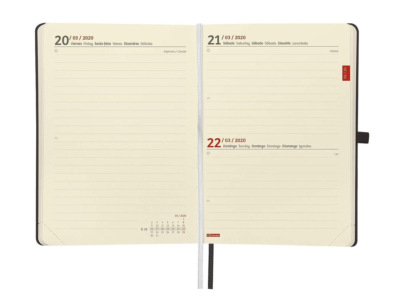 Finocam - Agenda 2020 1 día página Mínimal Textura Negro español