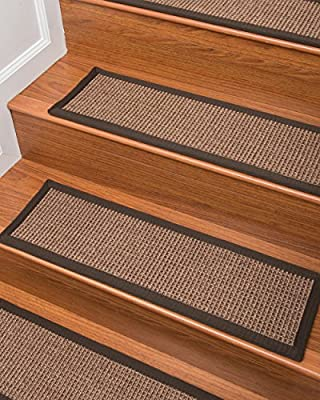 NaturalAreaRugs 100% Natural Fiber Freda, Sisal Brown, Handmade Stair Treads Carpet Fudge Border