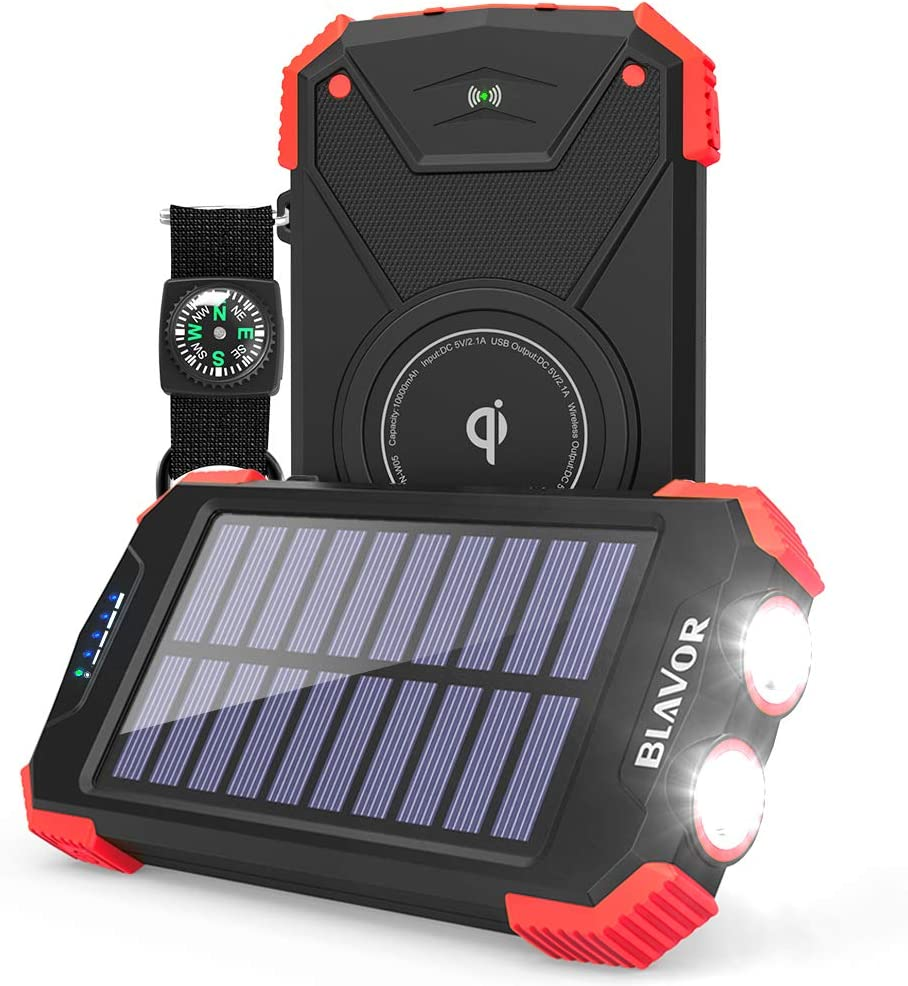 Solar Power Bank, Qi Portable Charger 10,000mAh External Battery Pack Type C Input Port Dual Flashlight, Compass, Solar Panel Charging (Red)