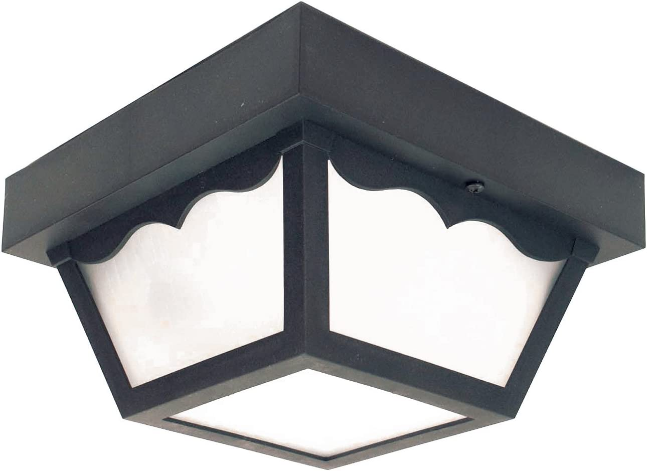 Sunlite 47234-SU DOD/CC/BK/FR/MED Decorative Outdoor Century Collection Polycarbonate Fixture, Black Finish, Frosted Lens