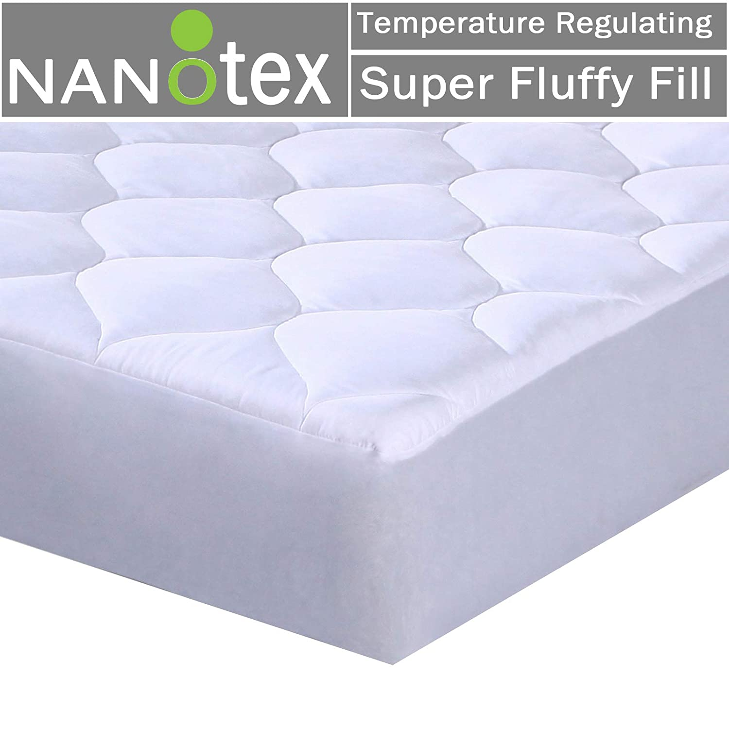 Mattress Pad Quilted Fitted Featuring Nanotex Coolest Comfort Temperature Regulating Cooling Technology. Super Soft SPA Grade Microfiber. Guaranteed to Fit Up to 18 Inch Mattress. (Full Size) Snuz