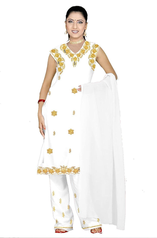 Trendofindia Weißes Salwar Kameez/Punjabi Größe L
