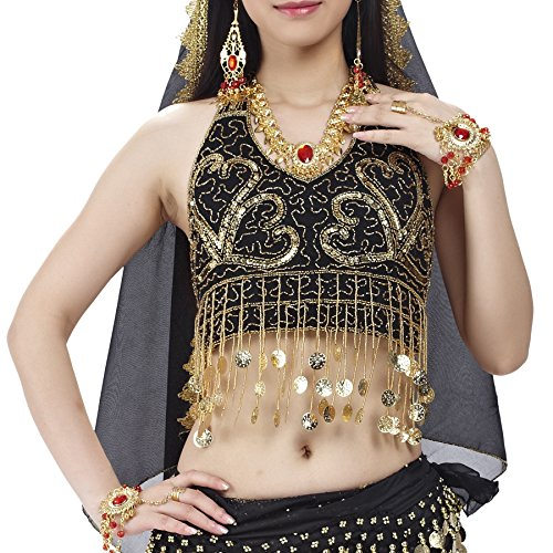 [BellyLady Tribal Belly Dance Costume Halter Coins Bra Top, Gift Idea BLACKGOLDCOINS] (Belly Dance Costumes Bra)