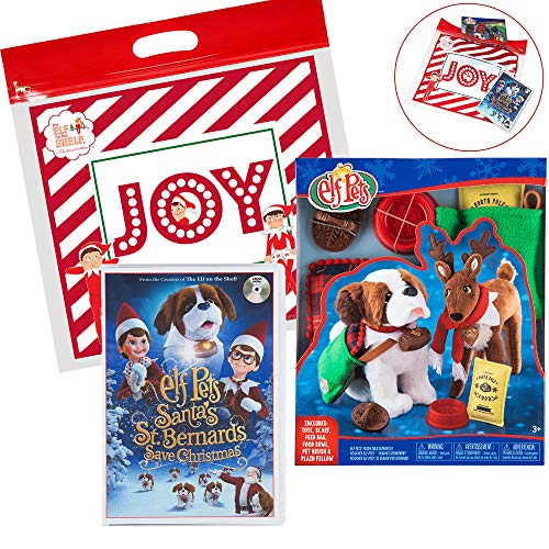 (The Elf on the Shelf Elf 2018 Pets Christmas Set, with Elf Pets Good Tidings Accessory Set and Santas St. Bernards Save Christmas DVD Movie )