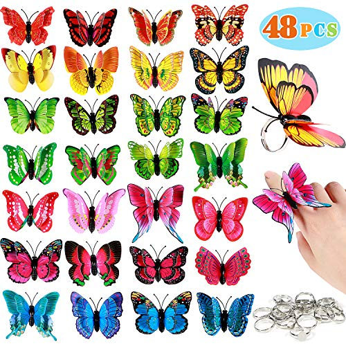 CoocleApril 48 pcs 3D Butterfly Ring for Girls Double-Layer Butterfly Ring Set for Little Girls as Home Room Decor Party Favors Bag Fillers for Kids -