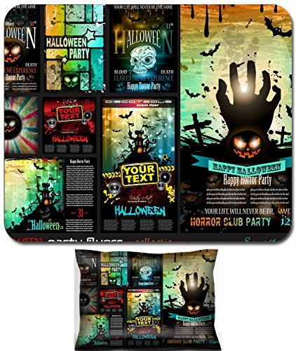 Liili Mouse Wrist Rest and Small Mousepad Set, 2pc Wrist Support IMAGE ID 32322977 Halloween Party Flyer with creepy colorful elements with a black portion of background for your -