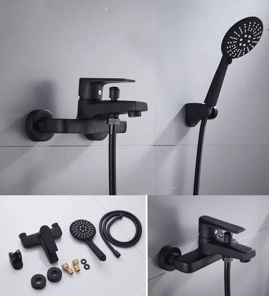 Negro 3 modos Incluye soporte ducha pared y manguera ducha 1.5m Mainen Grifo ducha monomando Grifo ba/ñera con Alcachofa Ducha de Mano