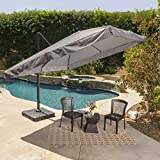 Meridiana Patio Shade | 9.8 Foot Outdoor Canopy Umbrella | Cantilever Design | Resin Base | Rigid Aluminum and Steel Frame | Durable Polyester Canopy in Grey Review