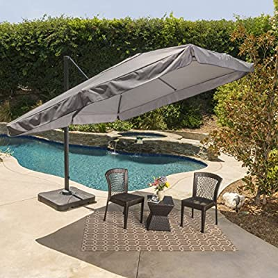 GDF Studio Meridiana Patio Shade | 9.8 Foot Outdoor Canopy Umbrella | Cantilever Design | Resin Base | Rigid Aluminum and Steel Frame | Durable Polyester Canopy in Grey - Includes: One (1) Umbrella and One (1) Base Dimensions: 118.0 inches deep x 118.0 inches wide x 104.00 inches high Frame Material: Aluminum and Steel - shades-parasols, patio-furniture, patio - 61Xshgyu5FL. SS400  -