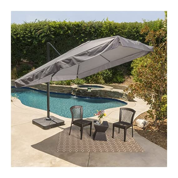 GDF Studio Meridiana Patio Shade | 9.8 Foot Outdoor Canopy Umbrella | Cantilever Design | Resin Base | Rigid Aluminum and Steel Frame | Durable Polyester Canopy in Grey - Includes: One (1) Umbrella and One (1) Base Dimensions: 118.0 inches deep x 118.0 inches wide x 104.00 inches high Frame Material: Aluminum and Steel - shades-parasols, patio-furniture, patio - 61Xshgyu5FL. SS570  -