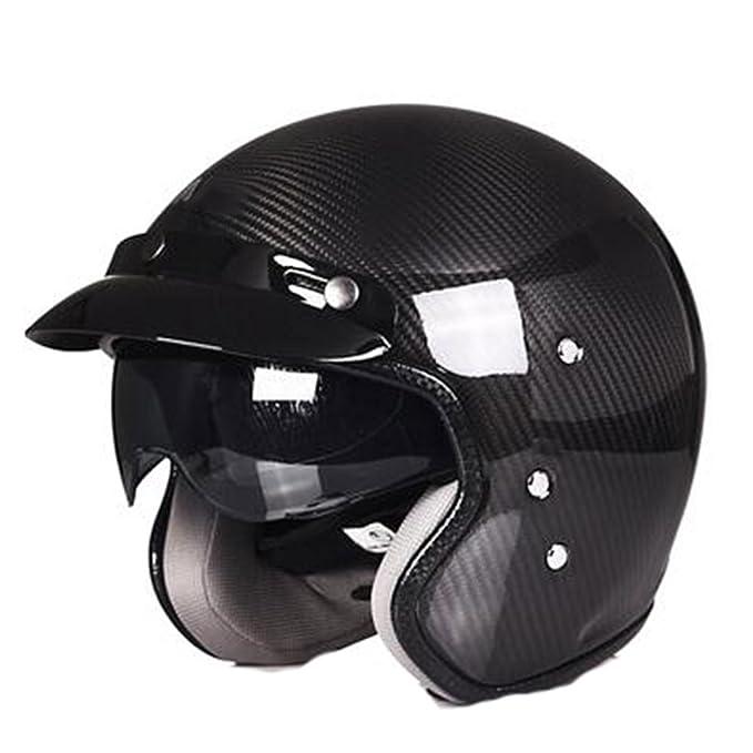 TZQ Hombres Medio Cubiertos De Fibra De Carbono Verano Eléctrico Coche Dama Máscara Retro Casco: Amazon.es: Ropa y accesorios