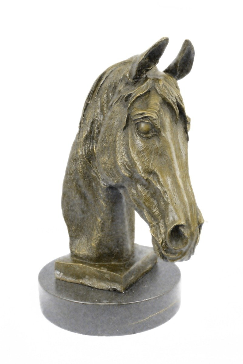 Handmade European Bronze Sculpture Signed Barye Unique Bust Horse Head Marble Base Figure Bronze Statue -UKYRD-670-Decor Collectible Gift by Bronzioni