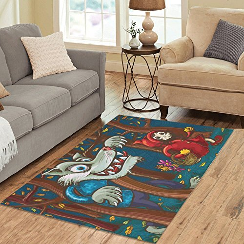InterestPrint Area Rug Scary Little Red Riding Hood and Big Bad Wolf Anti Skid Carpet 5'3