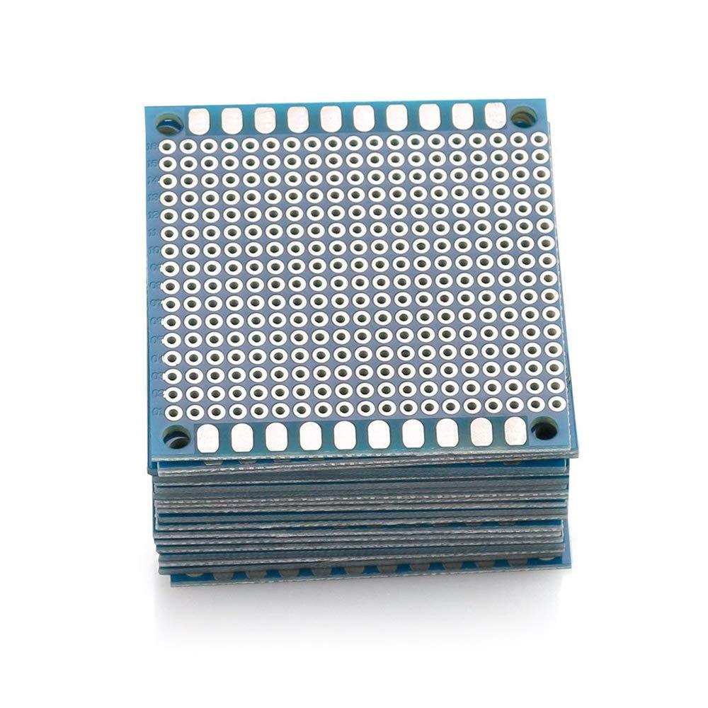 URBEST Universal Circuit PCB Board Single-Side Small Prototype Tinned Board 5 x 5 cm/1.97'' x 1.97'' Blue Circuit Breadboard, 20Pack