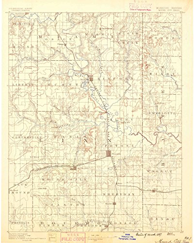 Mound City KS topo map, 1:125000 scale, 30 X 30 Minute, Historical, 1887, 19.4 x 15.6 IN - - The Kansas Ks Legends City