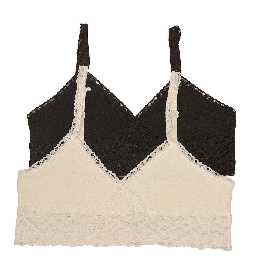 Big Girls Ivory Black Lace Trim Adjustable Strap 2 Pc Cami Bralette Set 8-16