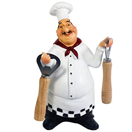 KiaoTime 98917PJ Italian Chef Figurines Kitchen Decor With Bottle Opener  Home Kitchen Restaurant Chef Figurine Chef