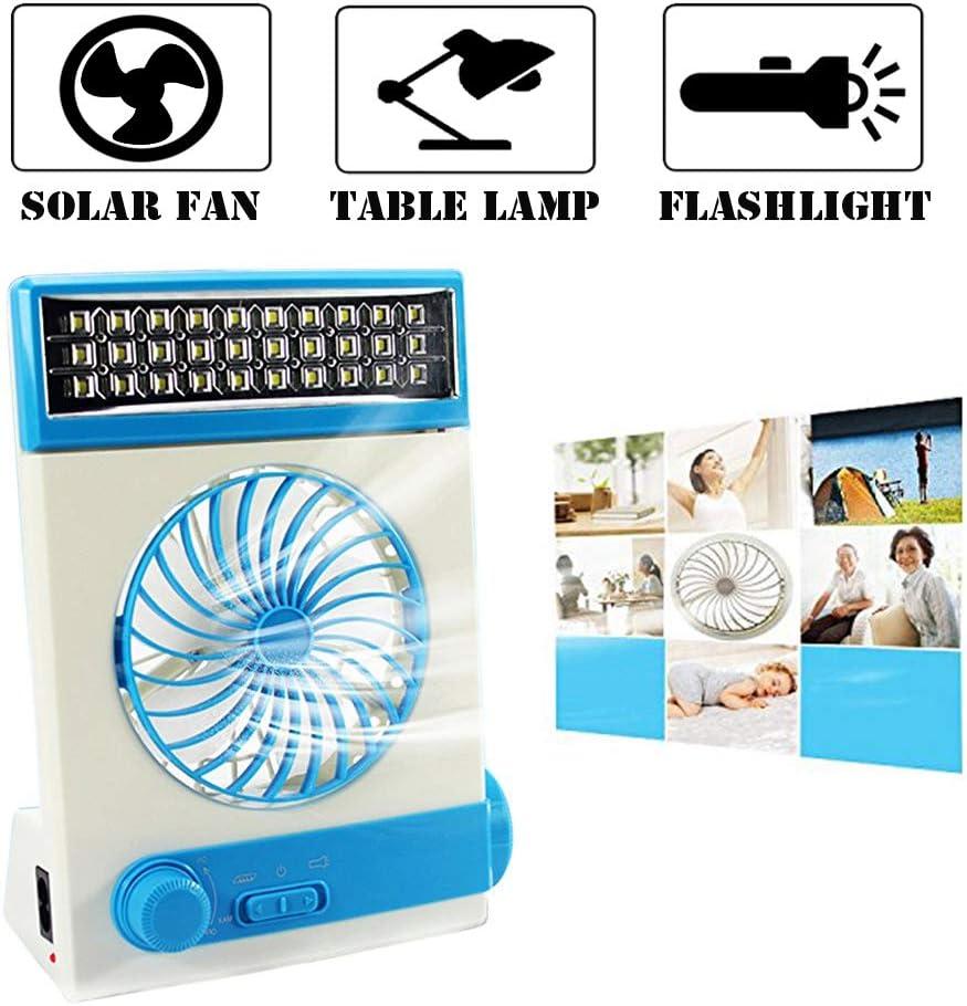 Multifuncional Solar Ventilador de Refrigeración 3 en 1 Linterna Portátil con Protección para Ojos LED Lámpara de Mesa Flash Panel Solar Enchufe de Adaptador para Acampada del Hogar (Azul)