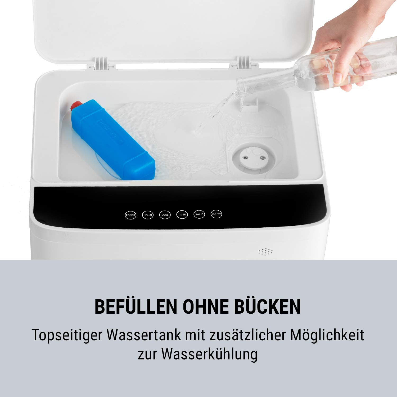 oneConcept Freeze Me Luftk/ühler mit 65 Watt Leistung /• 3 Windst/ärken /• 8 Liter Wassertank /• 3 Geschwindigkeiten /• Sensor-Touch-Display /• automatische//manuelle Richtungseinstellung /• wei/ß