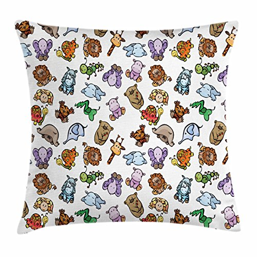 Ambesonne Boy's Throw Pillow Cushion Cover, Collection of Friendly Baby Animals from African Savannah Smiling Sleeping Faces, Decorative Square Accent Pillow Case, 36 X 36 Inches, Multicolor
