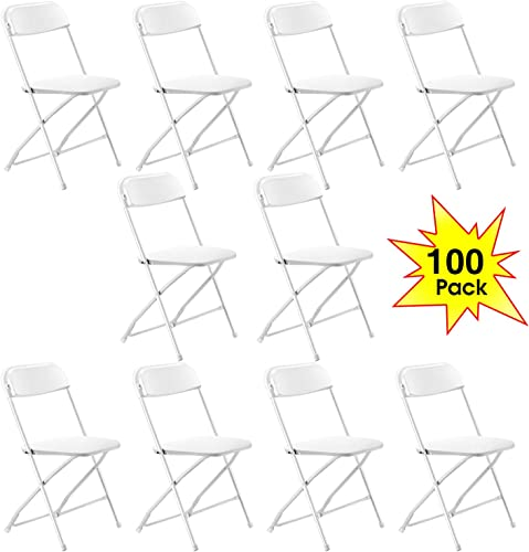 Kealive Plastic Folding Chair 100 Pack Fold Chair for Events, Wedding, Celebration, Graduation or Ceremony, Premium Lifetime Fold Up Chair Commercial Quality Back Yard Family Gathering Portable, White
