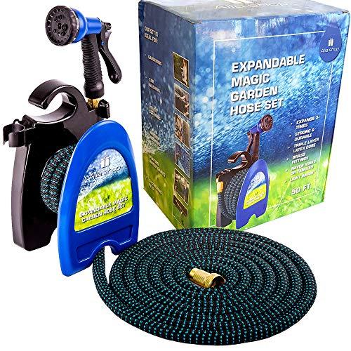 Expandable Garden Hose - Water Hose - Pocket Hose for Watering - Flexible Expandable Hose 50 ft - Set with Flex Expanding Garden Hose - Lightweight Hose Reel - Brass (Lightweight Hose Reel)