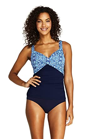 08f1b9b6bb Lands' End Women's Wrap Underwire Tankini Top Swimsuit Print at Amazon  Women's Clothing store: