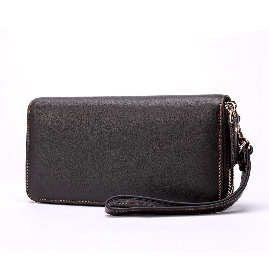 KRPENRIO Business Double Mens Wallet Long Wallet First Layer Leather Large Capacity Clutch Mens Hand Bag Color : Coffee Color