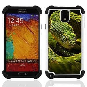 """SAMSUNG Galaxy Note 3 III / N9000 / N9005 - 3 en 1 impreso colorido de Altas Prestaciones PC Funda chaqueta Negro cubierta gel silicona suave (Verde Escala Serpiente"""")"""