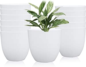 5.5 Inches Plastic Round Garden Pot, Fashionable Planters, Plant Pots, Gardening Containers, Perfect for Yard/Garden/Office/Bathroom/Kitchen/Flower/Succulents, Set of 12 (White)