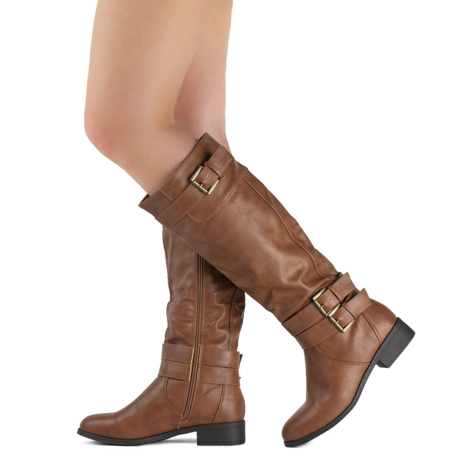 RF ROOM OF FASHION Lady's Buckle Knee High Riding Boots with Hidden Pocket TAN (7.5)