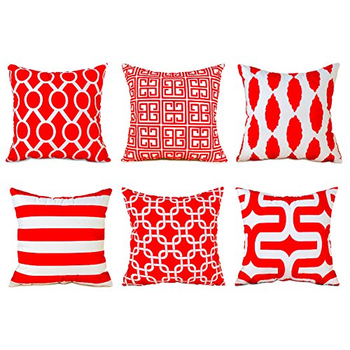 Red Sofa Set Microfiber (Top Finel Decorative Throw Pillows Cushion Covers Square Pillowcases Soft Brushed Microfiber For Sofa Set of 6 Size 18 x 18 Inch,Red)