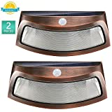 Solar Step Lights, Outdoor 8 LED Deck Light with PIR Motion Sensor Waterproof Security Pathway Lamps for Garden Stair Wall Walkway Yard Driveway (Cool White, 2 Pack)
