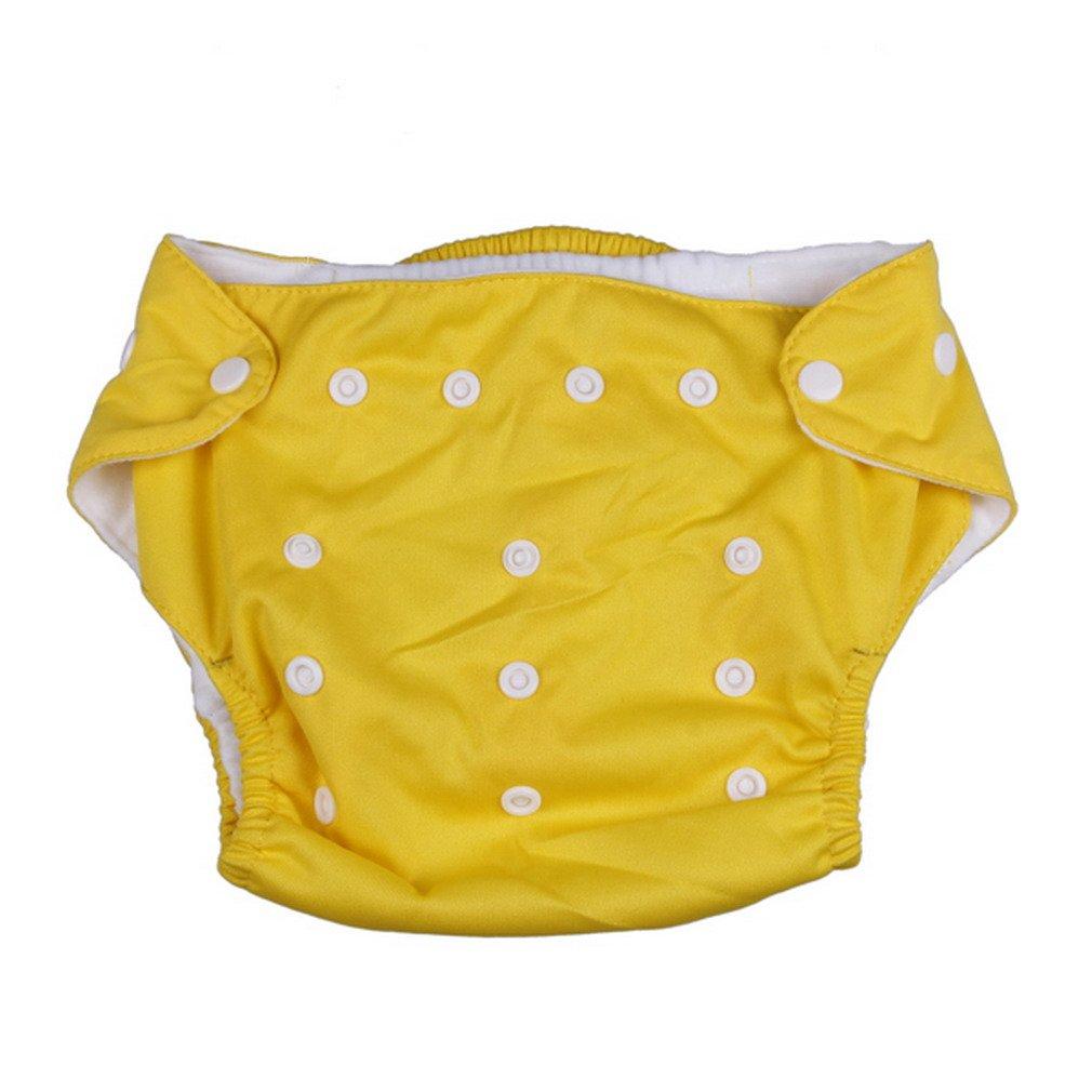 La vogue Ajustable Bañador Pañal De Tela Para Bebé Tamaño Unisexo Reutilizable Amarillo