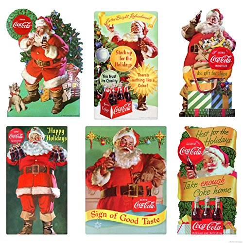 Retro Planet Sign of Good Taste Coca-Cola Santa Holiday Vinyl Sticker Set of 6