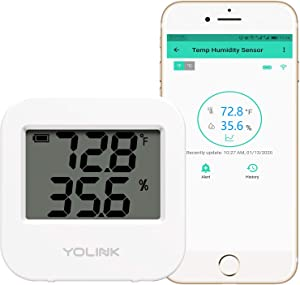 Smart Temperature Humidity Sensor Work w/Alexa IFTTT, 1/4 Mile Super Long Range Wireless Digital Hygrometer Indoor Thermometer Humidity Meter Temperature Humidity Monitor Sensor - YoLink Hub Required