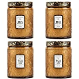 Voluspa Baltic Amber Large Embossed Glass Jar Candle ( 4 pack )